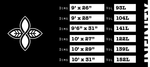 New Deal SUP Surf size chart