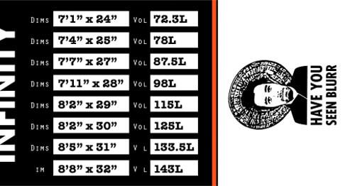 RNB Line SUP Surf Size Chart