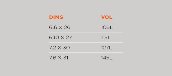 Foil SUP Surf Board size chart