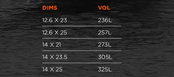 Whiplash Race Board size chart